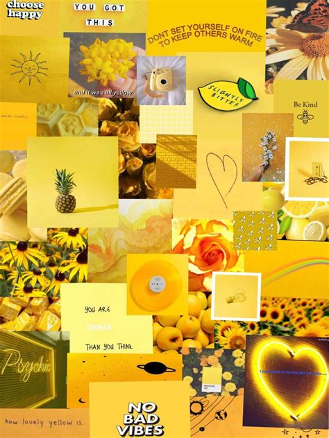 yellow aesthetic photo collage wallpapers