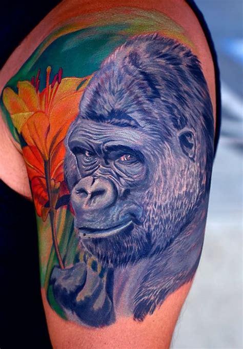 gorilla roaring face tattoo   sleeve colorful  pug