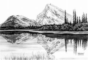 Reflections - Mountain Landscape Print Drawing by Kelli Swan