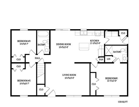 Fascinating 2 Bedroom Ranch Floor Plans Ideas Including