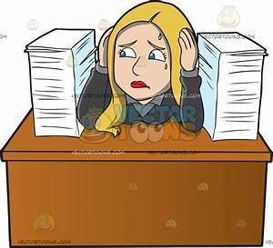 A Frustrated Female Employee With A Pile Of Paperwork ...