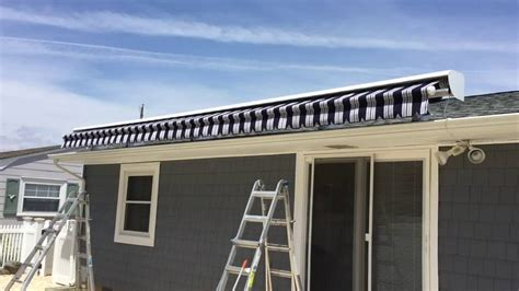 large roof mounted retractable awning installation lavallette nj youtube