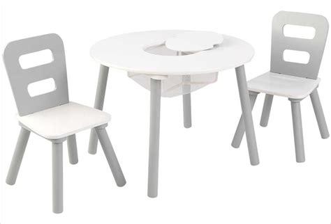table et chaise moulin roty table ronde en bois pour enfant et 2 chaises grises