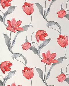 EDEM 828-20 deluxe flower tulip wallpaper cream light grey ...