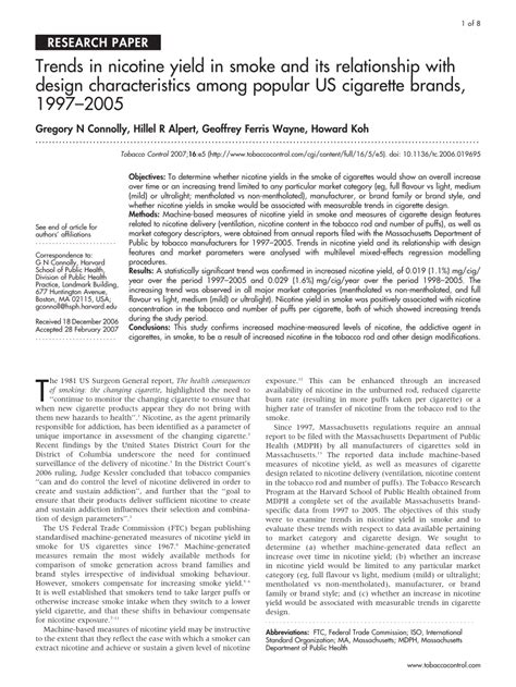 Trends In Nicotine Yield In Smoke And Its (pdf Download