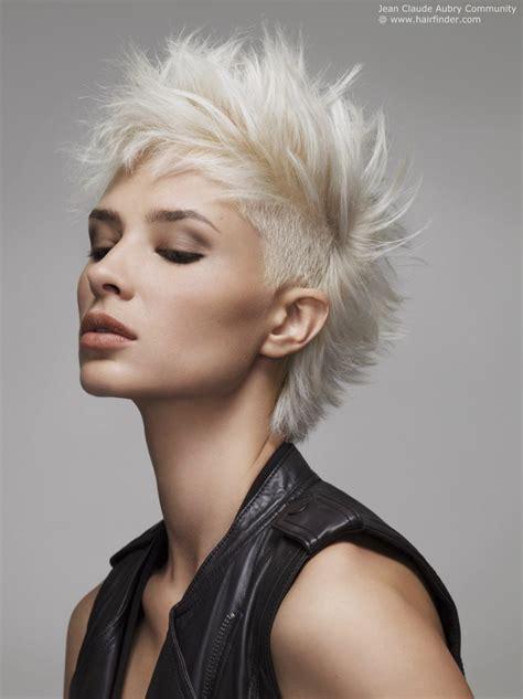 short  spiky platinum blonde hair   undercut