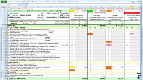 fathoms scope sheet leveling comparison template