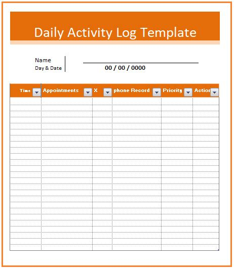 activity log templates   printable word excel