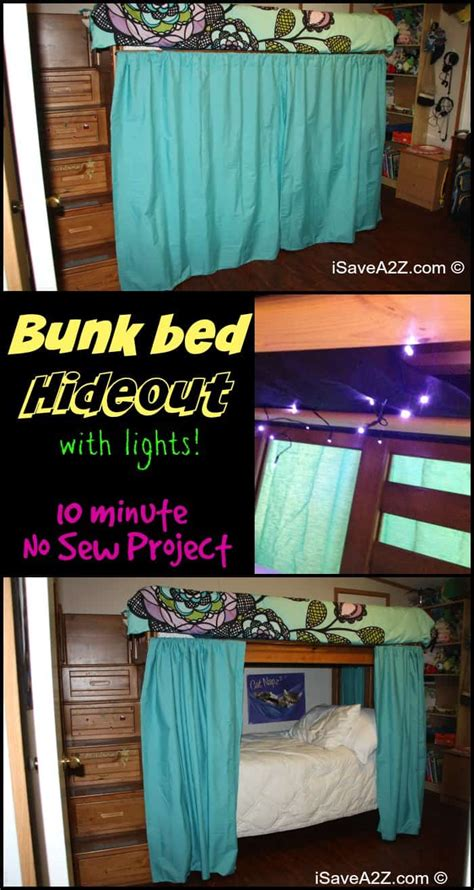 Bunk Bed Drapes - bunk bed hideout with no sew curtains isavea2z