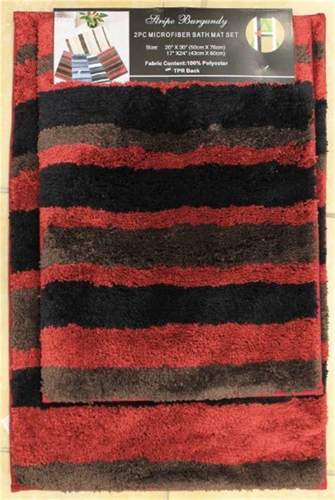 2 microfiber bath rug set modern stripe pattern bathroom rugs black