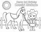 Cowgirl Horse Coloring Printable Pages Birthday Pdf Personalized Favor Activity Cowboy Getcolorings Getdrawings Barbie Pigtails Childrens Drawing Invitations sketch template