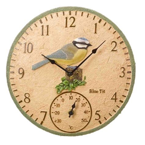 outdoor wall clock and thermometer outdoor clocks blue design the garden factory 7248