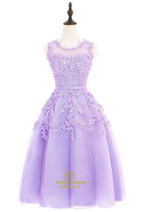 purple illusion knee length sleeveless bead cocktail dress