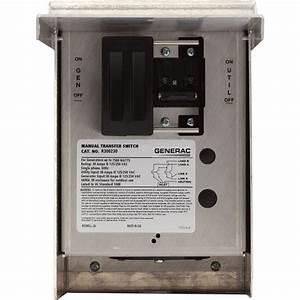 Generac Manual Transfer Switch  U2014 30 Amps  125  250 Volts