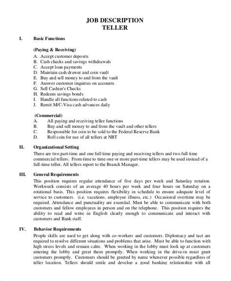 sle teller description 8 exles in pdf