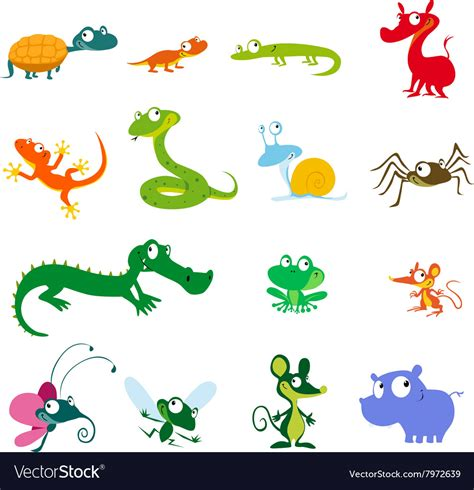 Simple animals cartoon amphibians reptiles and Vector Image