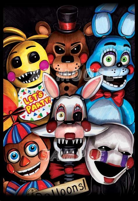 By Artist Aj Moore Medium Markers And India Ink Featured Toy Chica Toy Freddy Toy Bonnie