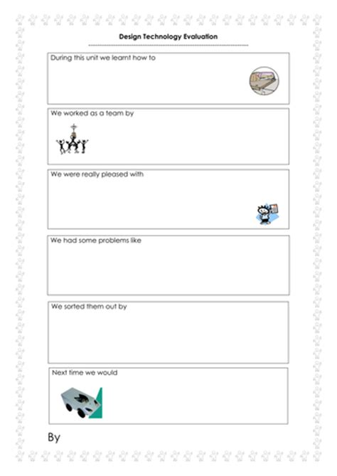 design technology evaluation sheet by carriecat10