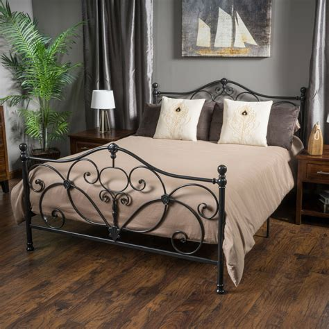 marcus king size metal bed frame  christopher knight