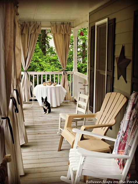 drop cloth curtains for a porch add privacy and sun