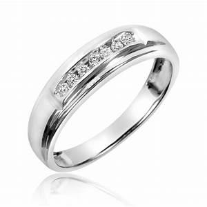 1 2 ct tw diamond trio matching wedding ring set 10k for Matching white gold wedding rings