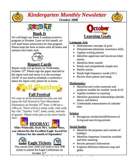 9 sample monthly newsletter templates sample templates 346 | Kindergarten Monthly Newsletter Template