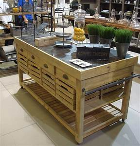 Meuble Ilot Central : meuble de cuisine en bois massif ilot central 182x80x88 ~ Teatrodelosmanantiales.com Idées de Décoration