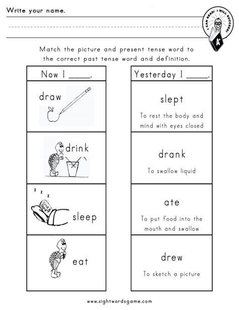 irregular past tense verbs worksheets for third grade