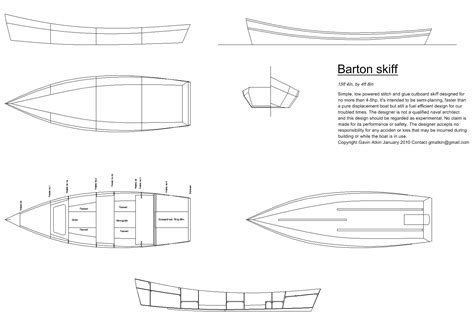 Skiff Boat Drawings by Barton Skiff Drawing1
