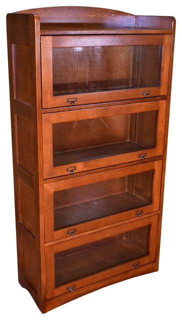 Barrister Bookcase by Mission Craftsman Style Quarter Sawn Oak 4 Stack Barrister