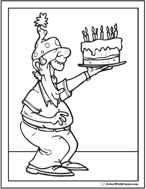 birthday coloring pages customizable