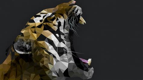 wallpaper tiger polygon roar art animals