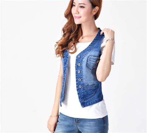 Casual Sleeveless Denim Jacket For Women Korean Slim Spring And Autumn V Neck Short Vest Female ...