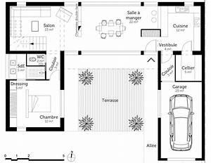 plan maison moderne en u ooreka With plan maison entree sud 3 plan maison moderne en u ooreka