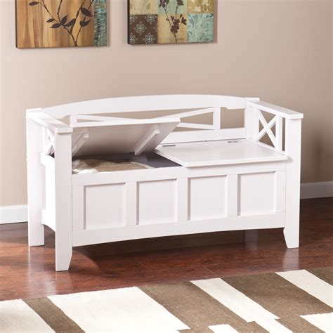 Living Spaces Storage Bench by The Simple Inset Panels And Curved Back Of This White