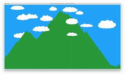 Python Turtle Mountain Math Clouds Drawing Sky