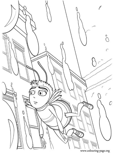 bee  barry flying   rain coloring page