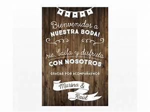 Cartel Bievenida Boda 60x40 cm al mejor precio!