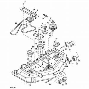 John Deere 997 60 U0026quot  Rear Discharge Mower Deck Parts Diagram
