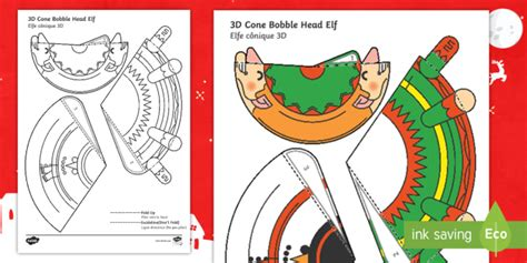 Cone Template Twinkl by Simple 3d Cone Elf Bobble Head Christmas Paper Craft