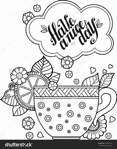Coloring Tea Cup Pages Adult Shutterstock Drawing