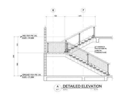 Drawn stairs concrete staircase detail   Pencil and in