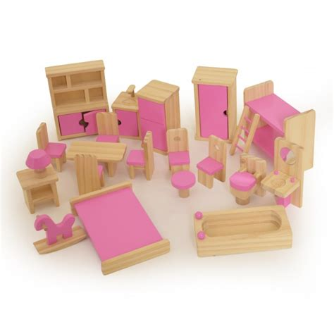 wooden childrens dolls house furniture set