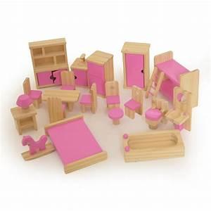 Wooden Children39s Dolls House Furniture Set