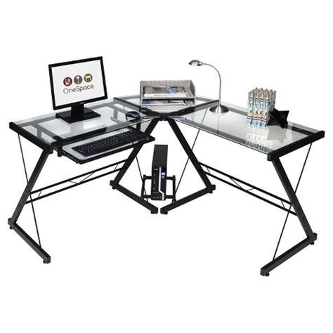 Target Desk L by Onespace 50 Jn110500 Ultramodern Glass L Shape Desk Black