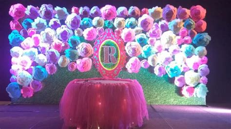 stage decoration  big paper flowers uppal hyderabad