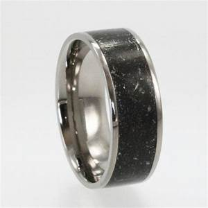 meteorite ring star dust titanium ring alternative With mens wedding ring meteorite