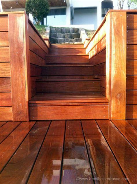 escalier marches bois sur mesure de terrasse en hauteur