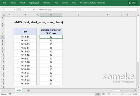 how to use excel how to use excel mid function formula details and exles