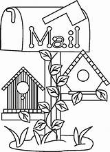 Birdhouse Coloring Pages Bird Colouring Google Country Houses sketch template